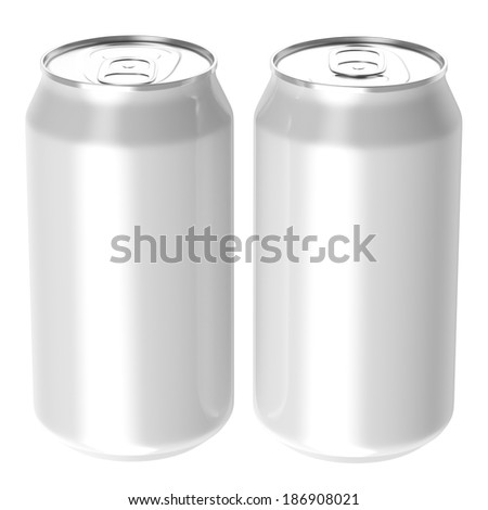 Two white beverage drink cans, Isolated on white background, 3d Rendered.