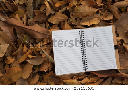two white blank page notebook on dry yellow leaf background - stock photo