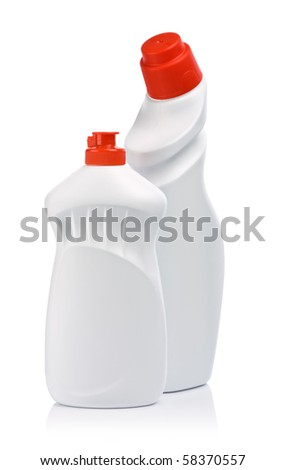 two white bottle with red covers