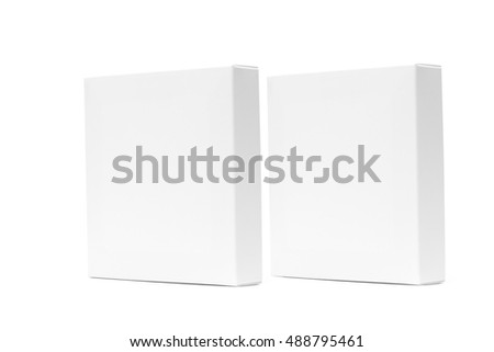 Two white box or white paper package box isolated with soft shadow on White background