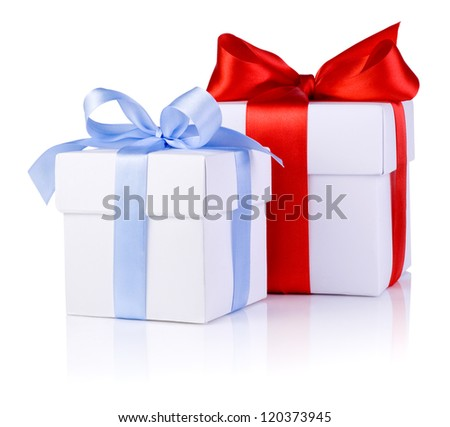 Two White boxs tied with Red and Blue satin ribbon bow isolated on white background - stock photo