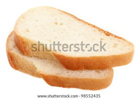 Two white bread slices - stock photo