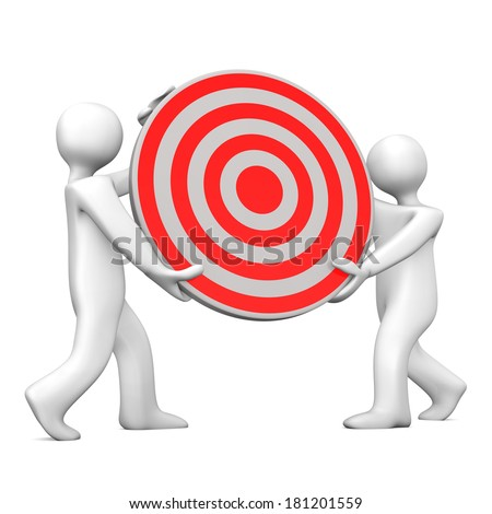 Two white cartoon characters with red target.White background. - stock photo