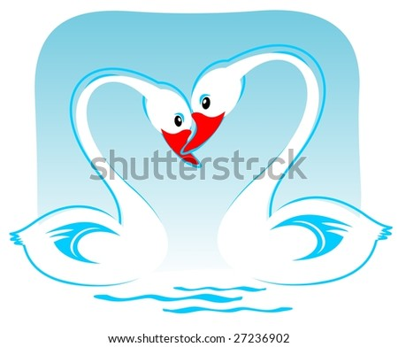 Two white cartoon swans on a blue background. Valentines illustration. - stock photo