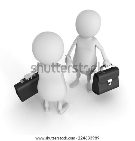 two white 3d businessmen handshaking. meeting 3d render illustration - stock photo