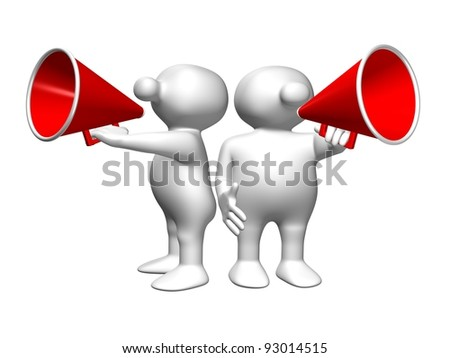 Two white 3D men with red megaphones
