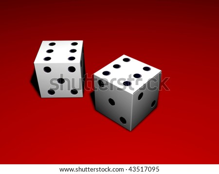 Two white dice on red background