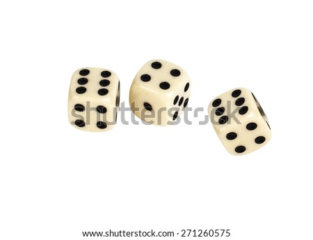 Two white dices. Isolated in white background.