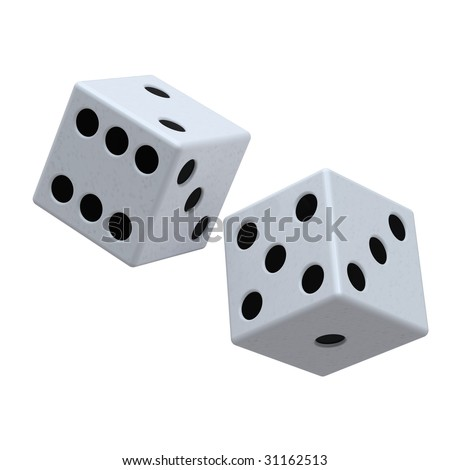 Two white dices isolated on white. Computer generated 3D photo rendering.
