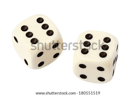 Two white dices isolated on white with clipping path