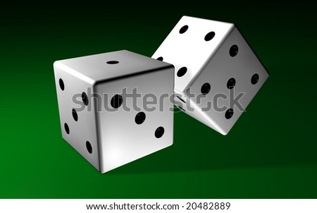 Two white dices over a green tapet bakground - stock photo