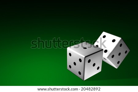 Two white dices over a green tapet bakground