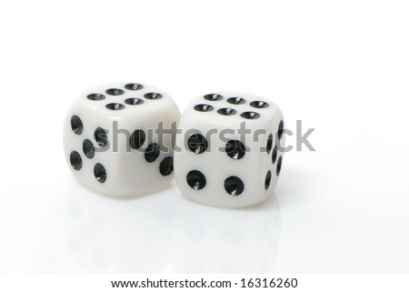 Two white dices rendered on the white background - stock photo