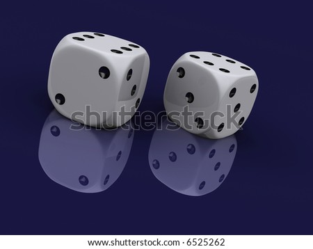 Two white dices with six mark on top side - rendered in 3d