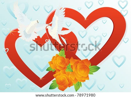 Two white doves flying in the background of two hearts and a bouquet of red roses. - stock photo
