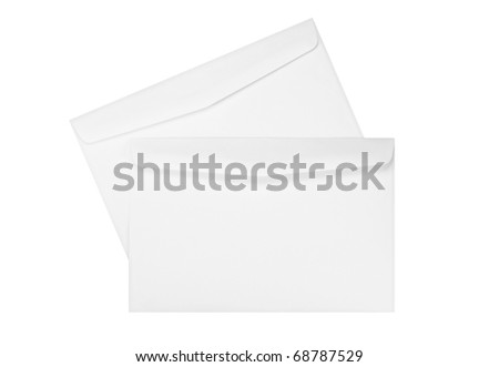 two white envelopes isolated on white - stock photo
