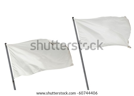 Two white flags waving on the wind. Isolated over white. - stock photo