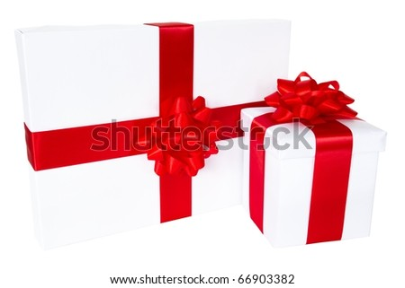 two white gift boxes isolated on the white background