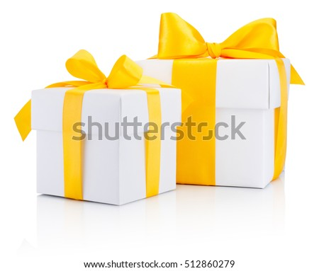 Two white gift boxes tied a yellow satin ribbon bow Isolated on white background