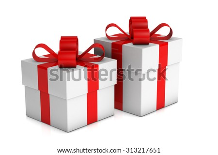 two white gift boxes with red ribbon on white background - stock photo