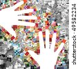 two white hands on images patchwork - stock photo