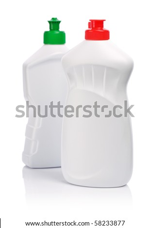 two white kitchen bottles