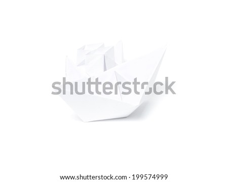 two white paper boats on white background