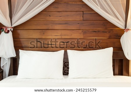 Two White Pillows on a Bed - stock photo