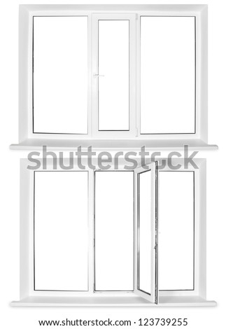 Two white plastic windows isolated on white background - stock photo