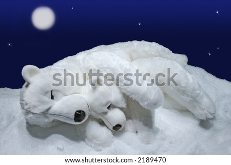 Two white polar bears sleeping on the snow with the moon and stars in background. - stock photo