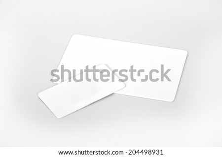two white RFID cards, close up - stock photo