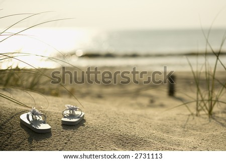 Two white sandals on sandy beach with ocean in background.