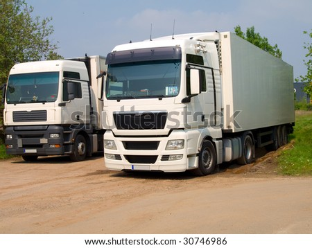 two white Semi Truck - stock photo
