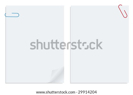 Two white sheet of clipped papers - stock photo