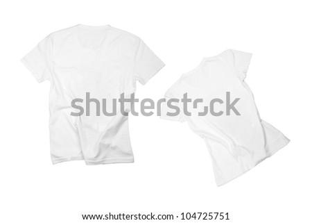 two white t-shirts isolated on white background - stock photo