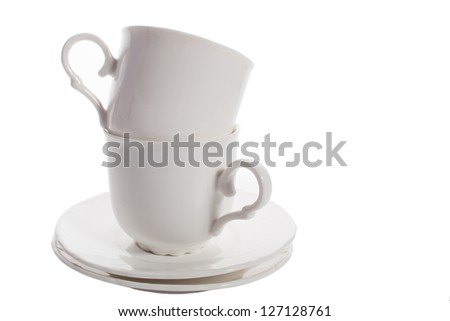 two white tea cup isolated - stock photo