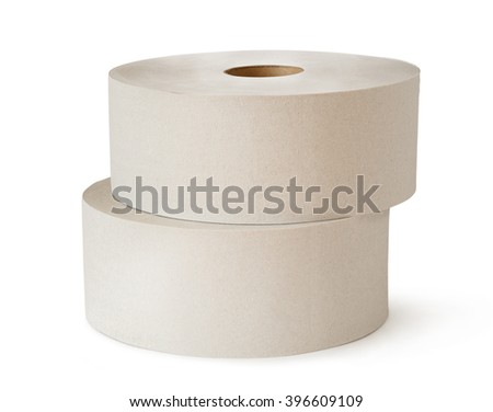 Two white toilet paper rolls in closeup