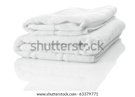 two white towels - stock photo