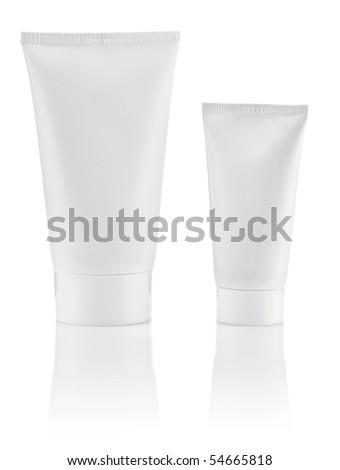 two white tube - stock photo