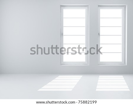 Two white windows and light from them in an empty room - stock photo