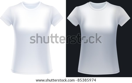 Two white woman t-shirts in white and black background, design template.