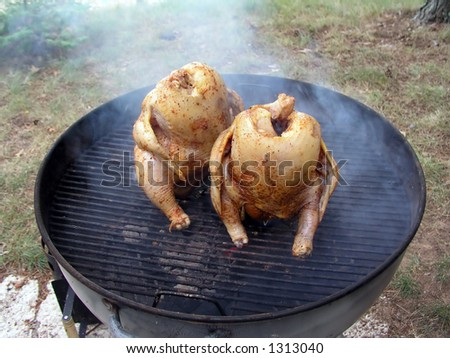 Two whole chickens cooking on a charcoal grill - stock photo