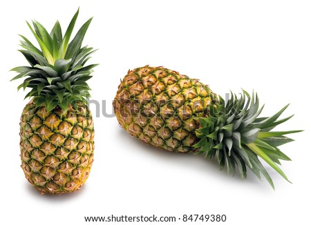 two whole Pineapple - stock photo