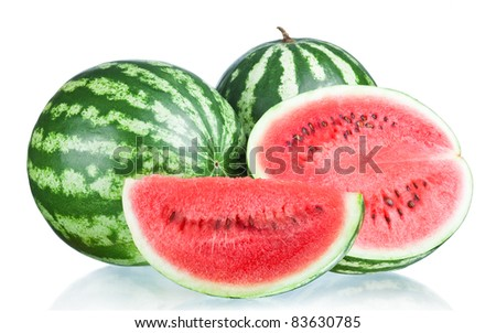 Two Whole watermelon, half and Slice isolated  on a white background - stock photo