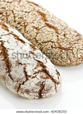 Two wholegrain bread on white background, healty food