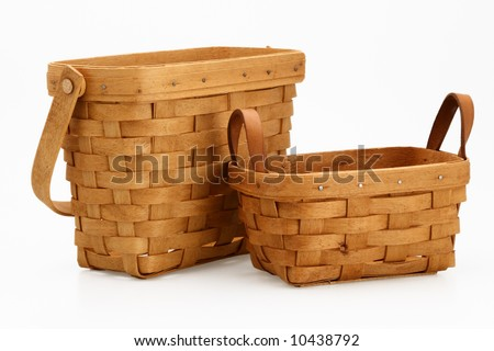 two wicker basket orange color image garden tool - stock photo