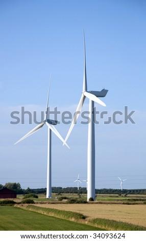 Two wind turbines - stock photo