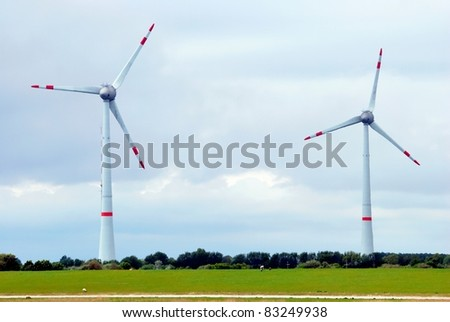 Two wind turbines - stock photo