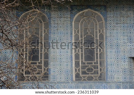 Two Windows and Tiled Wall in Istanbul - Topkapi Palace, Sultanahmet District, Istanbul, Turkey, Europe