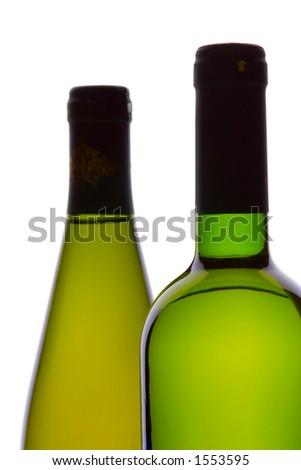 Two wine bottles against white background - stock photo